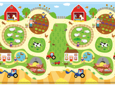 Posh Baby Babycare Playmat Busy Farm-Large