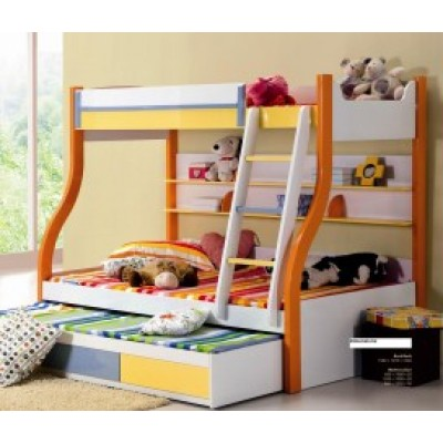 Kevin Multicolor Kids Bunk Bed with Trundle