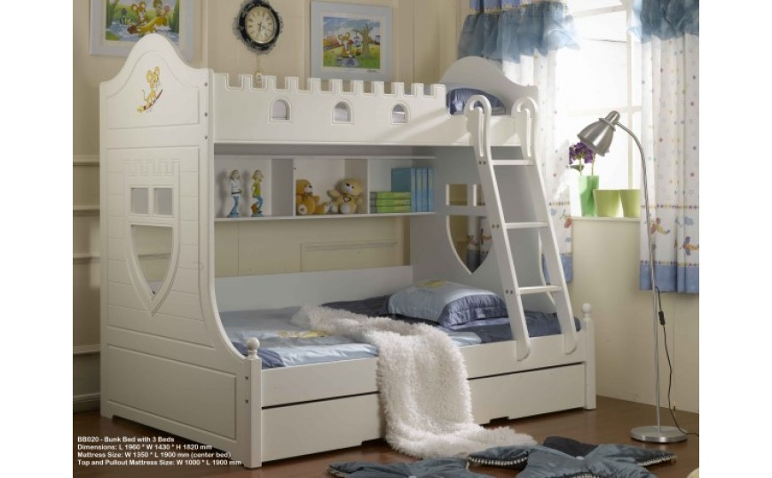 Huston White Bunk Bed for Kids