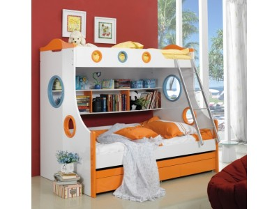Roman Multicolor Bunk Bed with Trundle and Storage