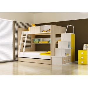 KKBB0024-Kim Bunk Bed with 3 beds and Staircase