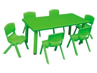 Rectangular Plastic Activity Table-Green (chairs not included)