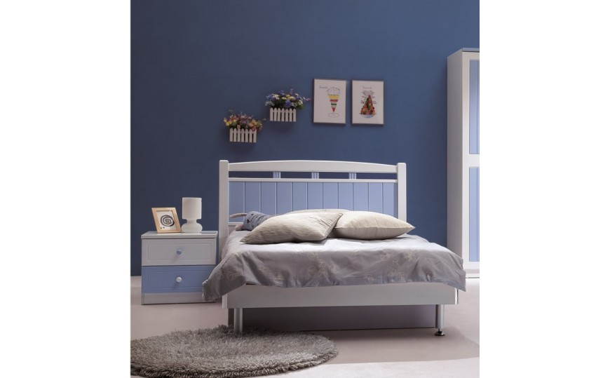 Felix Kids Twin Bed Blue and White Color