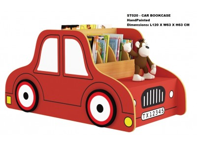Car Shaped Red Kids Bookshelf