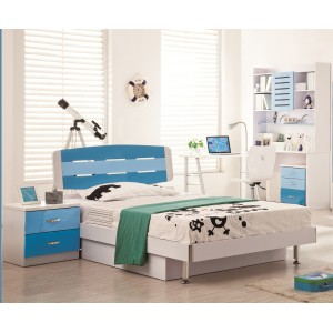 David- Blue n White Kids Twin Bed