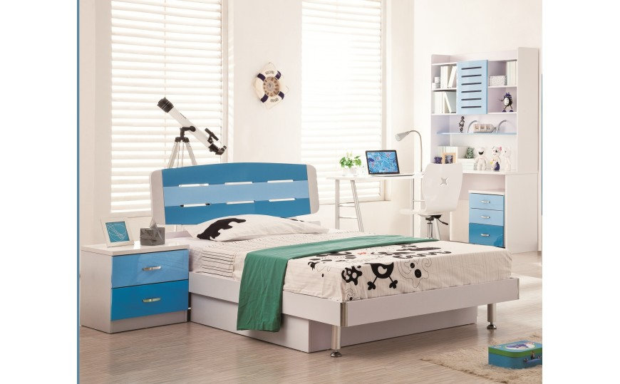 David Blue n White Kids Twin Bed